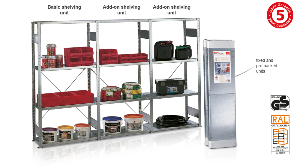 Pre-packed shelving example